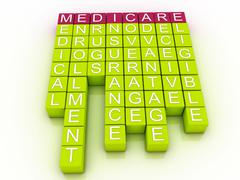 Medicare word cloud concept with great terms such as health Stock Illustration