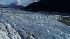 Aerial view of ice glacier Knik Glacier, Alaska Stock Footage