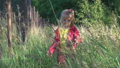 POV Child Walking in Tall Grass, Rustic Little Girl in Village, Sunset, Children Stock Footage
