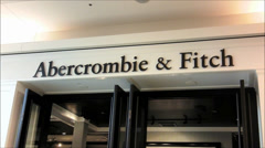 Abercrombie and Fitch mall storefront Stock Footage