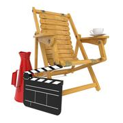 Director's Chair with Clap Board and Megaphone. - stock illustration