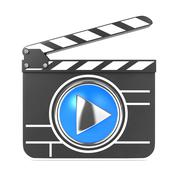Clapboard with Blue Screen. Media Player Concept. Stock Illustration