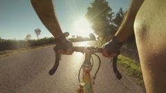 Climbing Road with Bicylcle Stock Footage