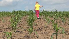 Rustic Scene of Little Girl Playing with Ground in a Corn Field, Rural Children Stock Footage