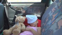 Child Sleeping in Car, Sleepy Girl and Teddy Bear in a Driving Vehicle, Children Stock Footage