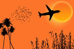 Silhouette sun  plane trees Stock Illustration