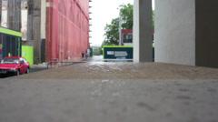 Worksite rain 1 Stock Footage