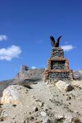 Eagle statue in mountains in Azerbaijan - stock photo
