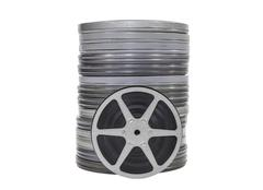 Vintage movie film cans and reel isolated Stock Photos