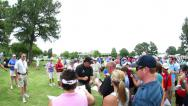 Stock Video Footage of Phil Mickelson signing autographs at Memphis Fed-Ex tournament
