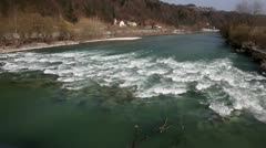 River rapids near road Stock Footage
