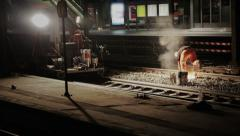 Railroad worker repairs rails - stock footage
