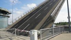 Drawbridge elevating - stock footage