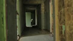 Сamera flying in the hallway of the abandoned house. POV, steadycam Stock Footage