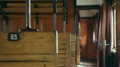 Inside of an old wagon with the  focal lenght changing Stock Footage