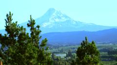Mt. Hood - Oregon w/ Elevation Sign Stock Footage