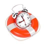 Alarmclock in Lifebuoy on White Background. - stock illustration