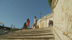 Shadows at the Spanish steps in Rome (slomo) Stock Footage
