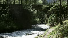 Old bridge above river Stock Footage