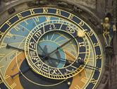 Stock Photo of Close up of astrological clock