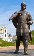 Yury dolgoruky monument near dmitrov kremlin Stock Photos