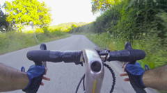 Going Down with Bicylcle on the Road Stock Footage