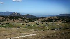 Panoramic shot of Velika planina-Slovenia Stock Footage