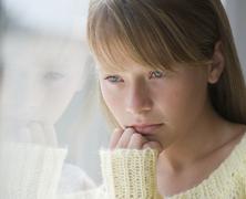 Close up of sad girl Stock Photos