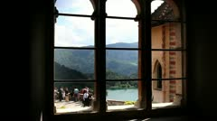 Shot of the part of the lake Bled from the window inside of Bled`s castle Stock Footage