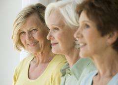Senior women in a row Stock Photos