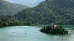 Island in the midlle of the lake Bled Stock Footage