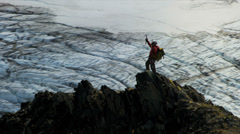 Aerial view of climber making successful assent of Peak Alaska, USA Stock Footage