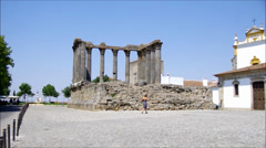Roman temple of Evora Stock Footage