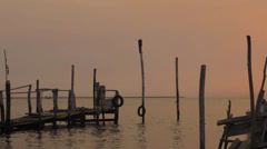 Sunrise from fishing pier Stock Footage