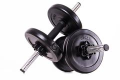 black gym barbells - stock photo