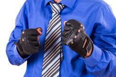 Businessman in sport gloves Stock Photos