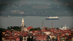 Panoramic Isola with a big ship passing in behind Stock Footage