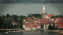 Panorama Izola with a big boat in behind Stock Footage