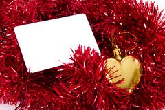 Stock Photo of blank card and christmas ornaments