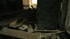 Remains in an abandoned house. Slider shot Stock Footage