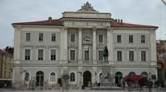 Piran s town hall with a crowd in front which opacity has been turned down Stock Footage