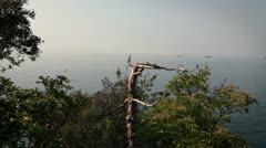 Panoramic adriatic sea near Piran with boats on sea Stock Footage