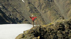 Aerial view of male mountain climber in summer, Alaska, USA Stock Footage