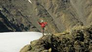 Stock Video Footage of Aerial view of male mountain climber in summer, Alaska, USA
