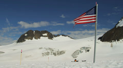 Stars and Stripes flag Arctic Circle remote wilderness, USA - stock footage