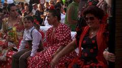 Women & children on feria float, Stock Footage