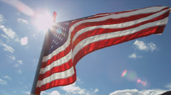 Stars and Stripes flag Arctic Circle remote wilderness, USA Stock Footage