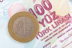 Turkish lira coin on banknote Stock Photos