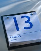 A calender showing Friday the thirteenth Stock Photos