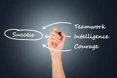 hand drawing teamwork, intelligence, courage for success - stock photo